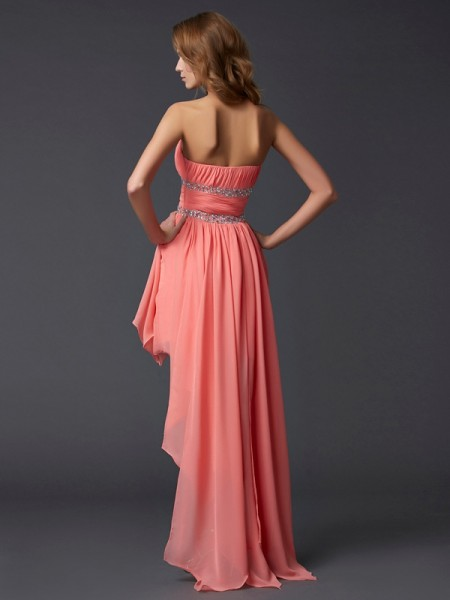 Empire Chiffon Strapless Asymmetrical Ruffles Sleeveless Cocktail Dresses