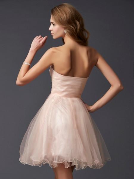 A-Line/Princess Silk like Satin Sweetheart Short/Mini Sleeveless Cocktail Dresses