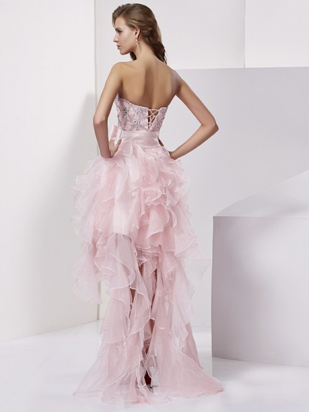 A-Line/Princess Organza Strapless Asymmetrical Beading Sleeveless Cocktail Dresses
