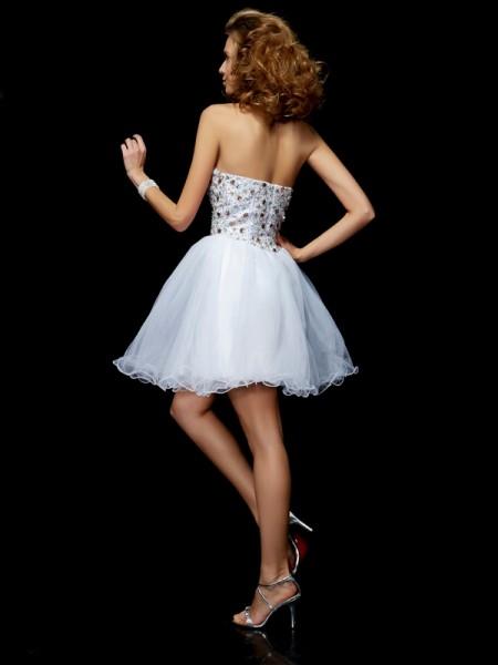 Sheath/Column Elastic Woven Satin Sweetheart Short/Mini Crystal Sleeveless Cocktail Dresses