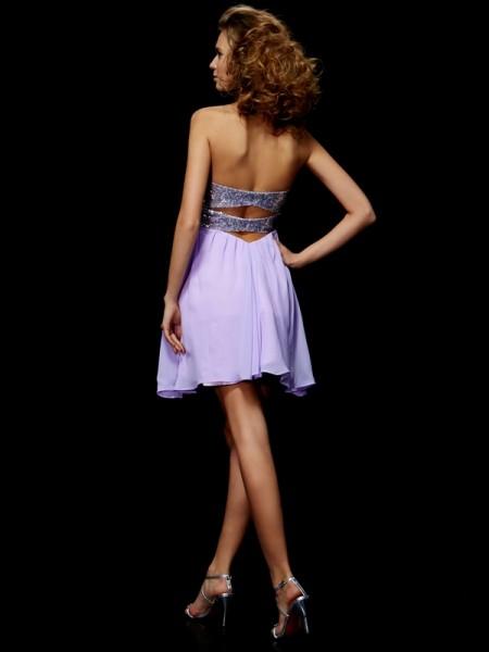 Sheath/Column Chiffon Sweetheart Short/Mini Lace Paillette Sleeveless Cocktail Dresses