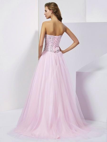 Ball Gown Satin Sweetheart Floor-Length Beading Sleeveless Dresses