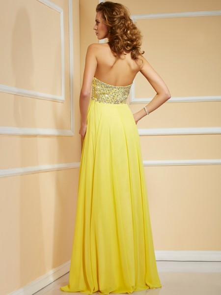 Sheath/Column Chiffon Sweetheart Floor-Length Ruffles Rhinestone Ruched Sleeveless Dresses