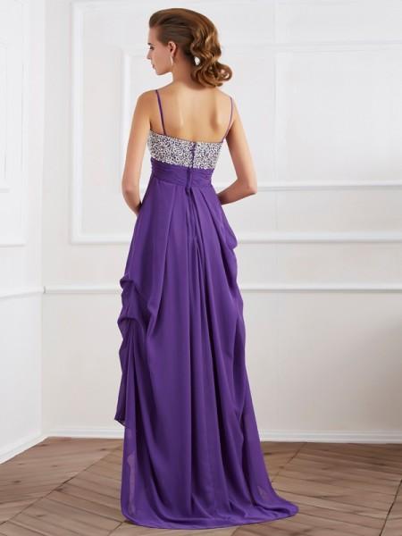 A-Line/Princess Chiffon Spaghetti Straps Asymmetrical Ruffles Beading Sleeveless Formal Dresses
