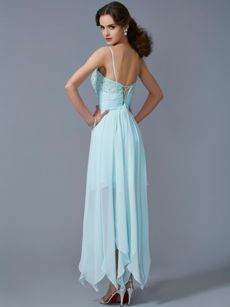 A-Line/Princess Chiffon Spaghetti Straps Asymmetrical Beading Sleeveless Cocktail Dresses
