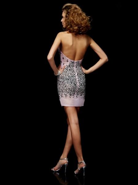 Sheath/Column Organza Straps Short/Mini Beading Sleeveless Cocktail Dresses