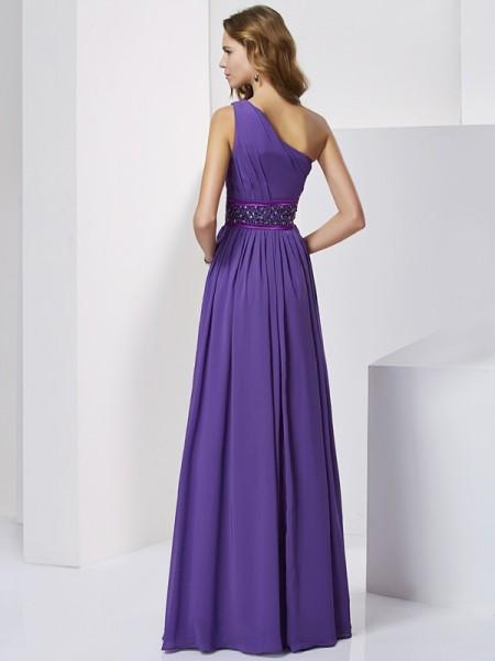 Empire Chiffon One-Shoulder Floor-Length Beading Sleeveless Dresses