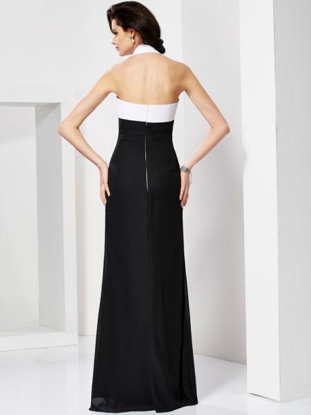 Trumpet/Mermaid Chiffon Halter Floor-Length Pleats Sleeveless Dresses
