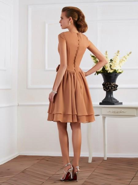 Sheath/Column Chiffon High Neck Knee-Length Sash/Ribbon/Belt Sequin Sleeveless Bridesmaid Dresses