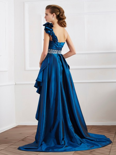 A-Line/Princess Taffeta One-Shoulder Asymmetrical Beading Sleeveless Dresses