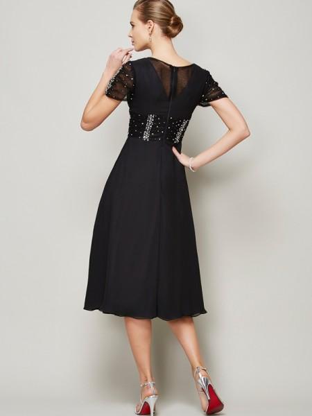 A-Line/Princess Chiffon V-neck Knee-Length Ruffles Beading Short Sleeves Cocktail Dresses
