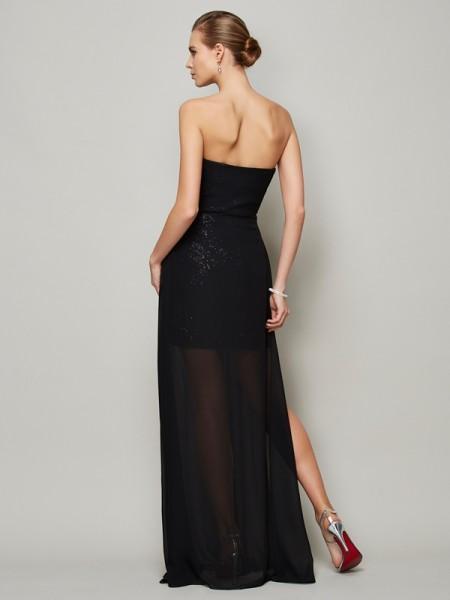 A-Line/Princess Chiffon Sweetheart Floor-Length Ruffles Sleeveless Dresses