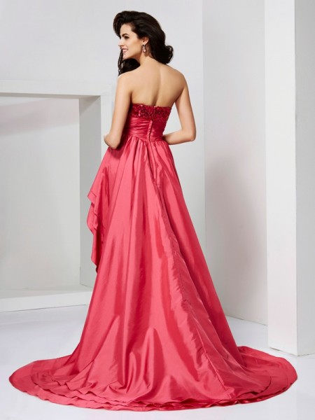 A-Line/Princess Taffeta Strapless Asymmetrical Lace Paillette Sleeveless Dresses