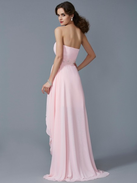 A-Line/Princess Chiffon Sweetheart Asymmetrical Beading Sleeveless Cocktail Dresses