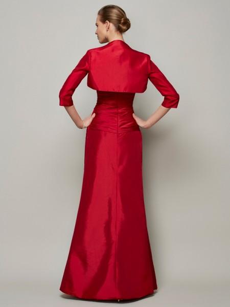 A-Line/Princess Taffeta Sweetheart Floor-Length Beading Sleeveless Dresses