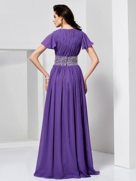 A-Line/Princess Chiffon V-neck Floor-Length Beading Short Sleeves Dresses