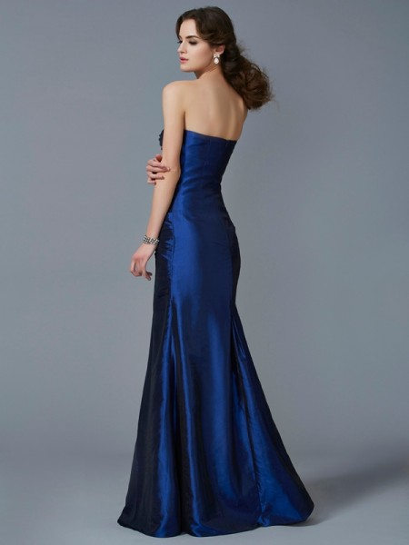 Trumpet/Mermaid Taffeta Strapless Floor-Length Applique Sleeveless Dresses