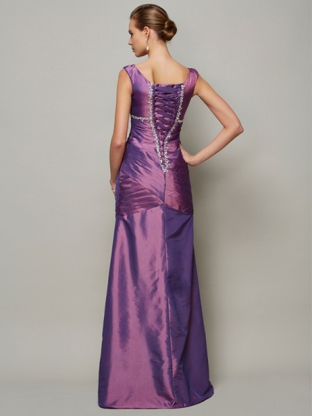 Sheath/Column Taffeta V-neck Floor-Length Beading Sleeveless Dresses