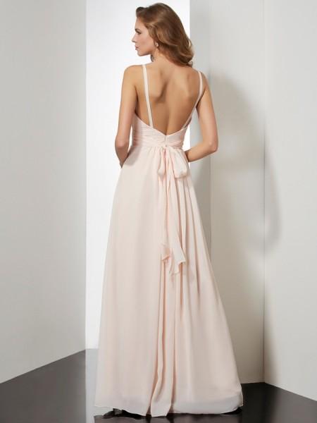 Sheath/Column Chiffon Spaghetti Straps Floor-Length Ruffles Sleeveless Dresses