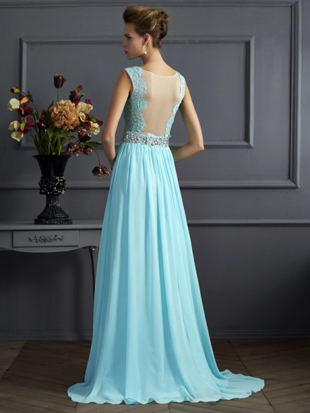 A-Line/Princess Chiffon Straps Sweep/Brush Train Beading Lace Sleeveless Dresses