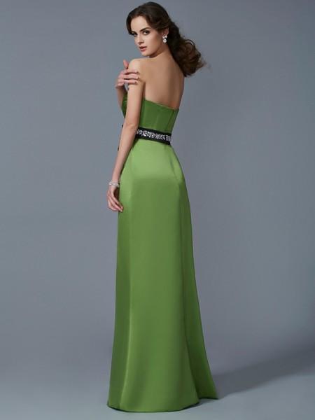 Sheath/Column Satin Strapless Floor-Length Sash/Ribbon/Belt Sleeveless Dresses