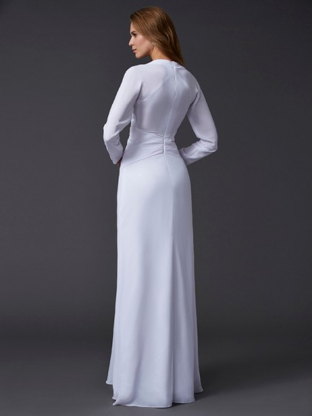 Sheath/Column Chiffon V-neck Floor-Length Ruched Long Sleeves Dresses