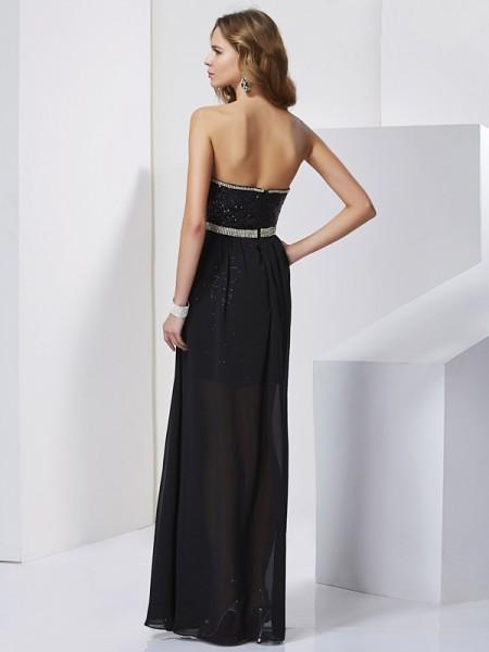 A-Line/Princess Chiffon Strapless Short/Mini Ruffles Sleeveless Dresses