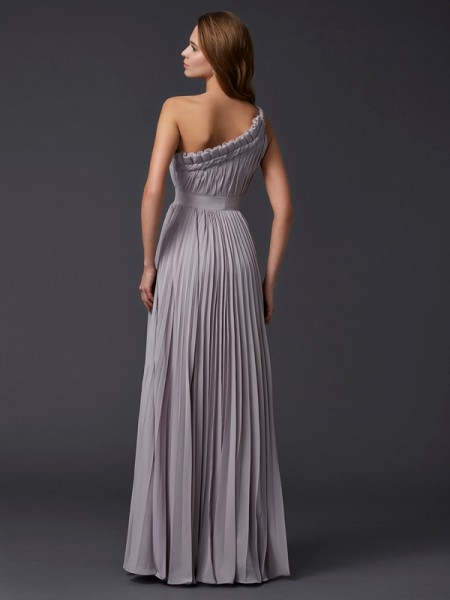 A-Line/Princess Chiffon One-Shoulder Floor-Length Pleats Sleeveless Dresses