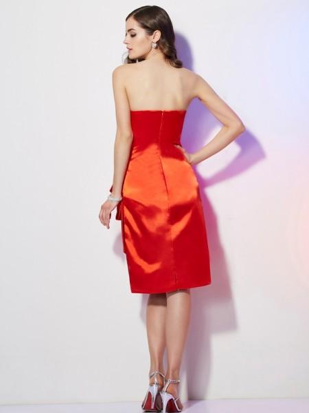 Sheath/Column Elastic Woven Satin Strapless Short/Mini Pleats Sleeveless Homecoming