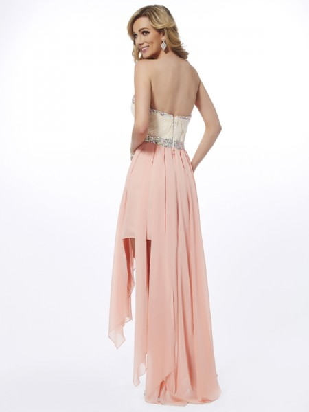 A-Line/Princess Chiffon Sweetheart Asymmetrical Beading Sleeveless Dresses