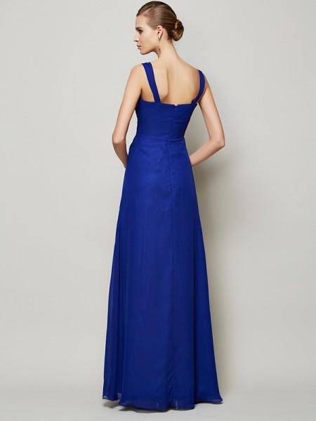 Sheath/Column Chiffon Straps Floor-Length Pleats Sleeveless Dresses