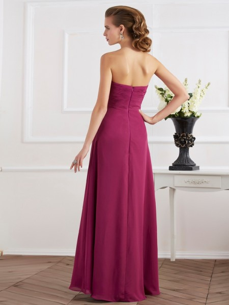 Sheath/Column Chiffon Sweetheart Floor-Length Sleeveless Dresses