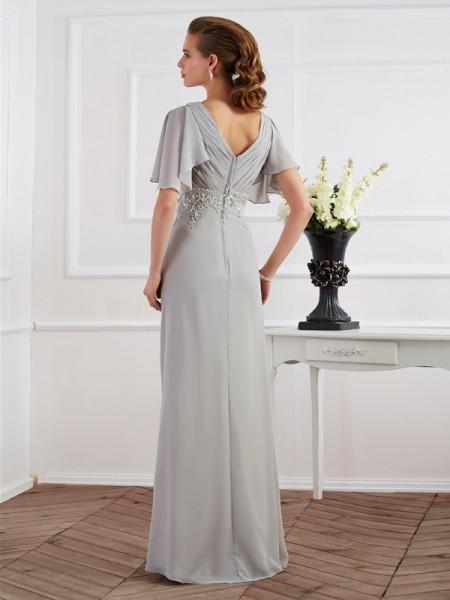 Sheath/Column Chiffon V-neck Floor-Length Beading Short Sleeves Dresses