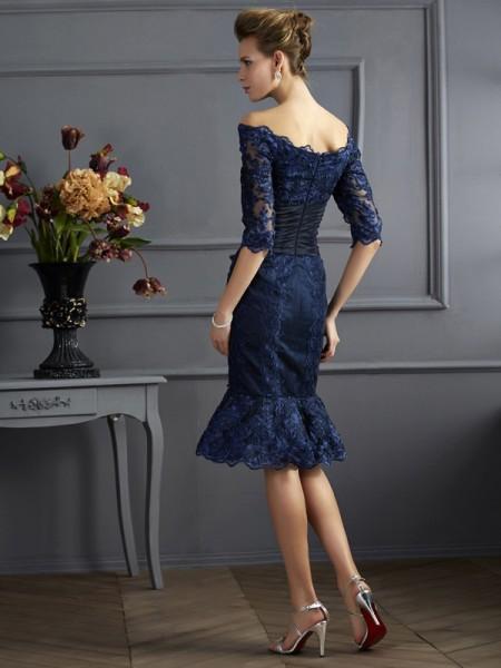 Sheath/Column Taffeta Off-the-Shoulder Knee-Length 3/4 Sleeves Formal Dresses