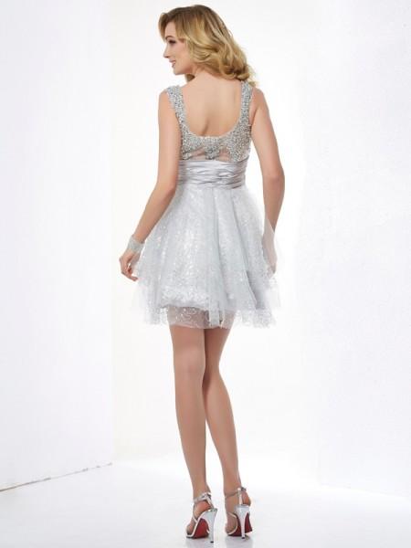 A-Line/Princess Elastic Woven Satin Net Straps Short/Mini Beading Sleeveless Cocktail Dresses
