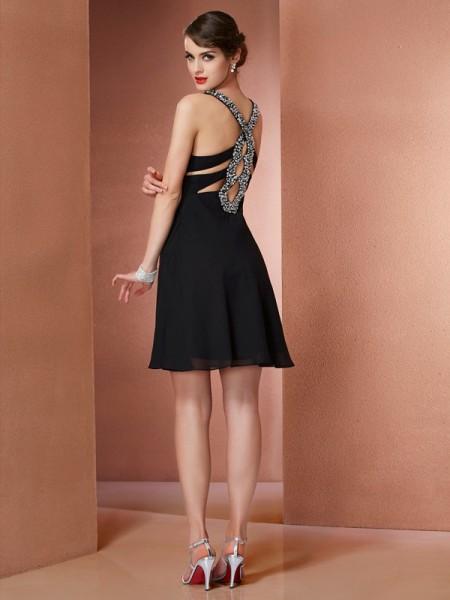 A-Line/Princess Chiffon Scoop Short/Mini Beading Sleeveless Cocktail Dresses