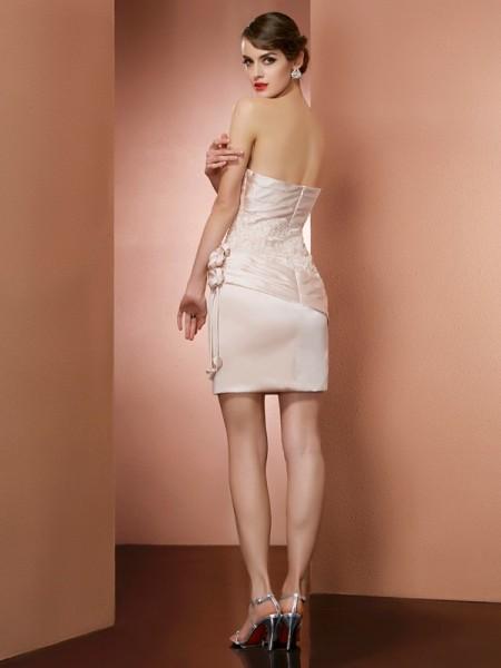 Sheath/Column Satin Strapless Short/Mini Hand-Made Flower Sleeveless Cocktail Dresses