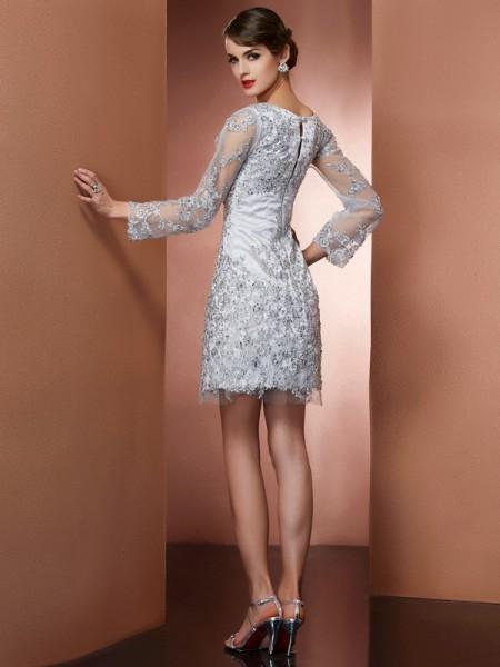 Sheath/Column Elastic Woven Satin V-neck Short/Mini Beading Applique Long Sleeves Mother of the Bride Dresses