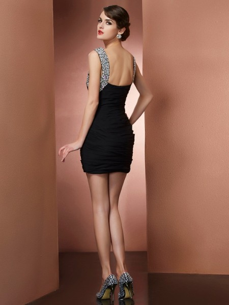 Sheath/Column Chiffon Straps Short/Mini Beading Sleeveless Cocktail Dresses