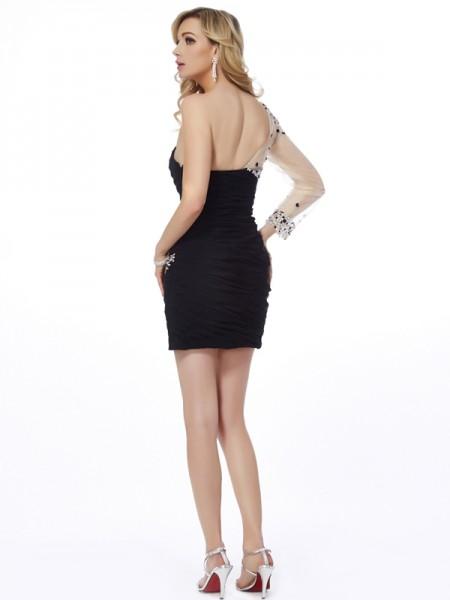 Sheath/Column Chiffon Net One-Shoulder Short/Mini Beading Sleeveless Cocktail Dresses