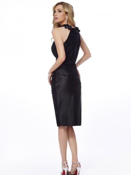 Sheath/Column Elastic Woven Satin Bateau Knee-Length Applique Sleeveless Cocktail Dresses
