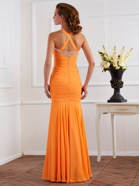 Trumpet/Mermaid Chiffon Halter Floor-Length Beading Sleeveless Dresses