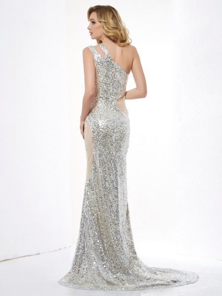 Trumpet/Mermaid Lace Sequins One-Shoulder Sweep/Brush Train Lace Paillette Sleeveless Dresses