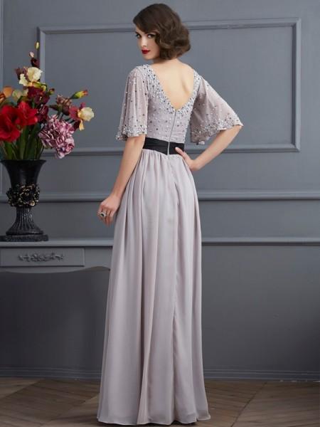 A-Line/Princess Chiffon High Neck Floor-Length Beading 1/2 Sleeves Dresses