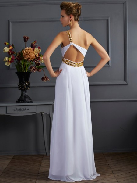 A-Line/Princess Chiffon One-Shoulder Floor-Length Beading Sleeveless Dresses