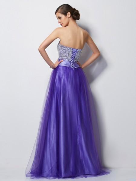A-Line/Princess Net Satin Sweetheart Floor-Length Beading Sleeveless Dresses