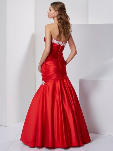 Trumpet/Mermaid Chiffon Sweetheart Floor-Length Applique Sleeveless Dresses