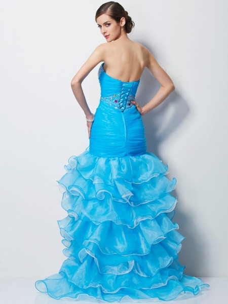 Trumpet/Mermaid Tulle Sweetheart Asymmetrical Beading Sleeveless Dresses