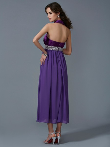 A-Line/Princess Chiffon Halter Ankle-Length Beading Sleeveless Dresses