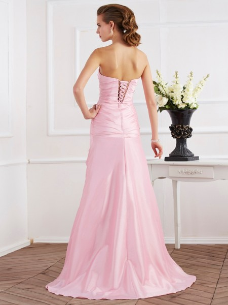 Trumpet/Mermaid Taffeta Strapless Sweep/Brush Train Beading Sleeveless Dresses